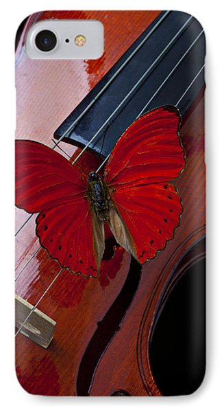 Red Butterfly On Violin Phone Case by Garry Gay