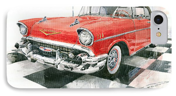 Red Chevrolet 1957 IPhone Case by Yuriy  Shevchuk