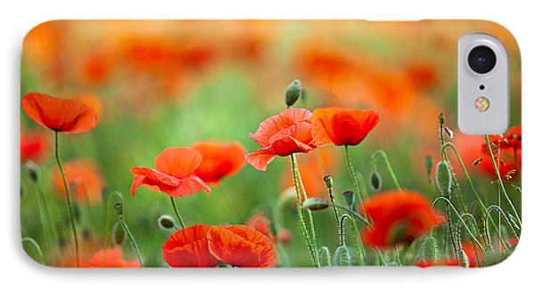 Red Corn Poppy Flowers 03 IPhone Case by Nailia Schwarz