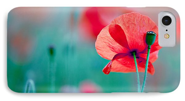 Red Corn Poppy Flowers 04 IPhone Case by Nailia Schwarz