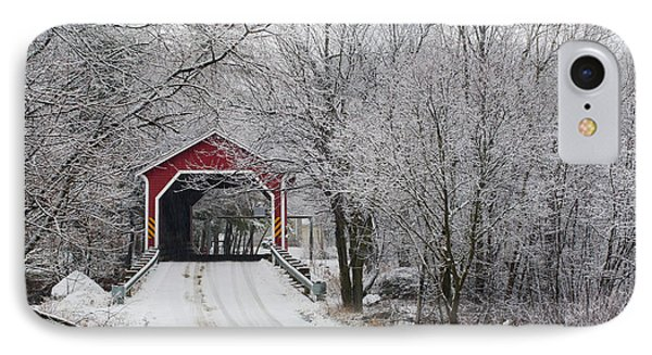 Red Covered Bridge In The Winter Phone Case by David Chapman