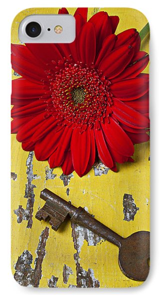 Red Daisy And Old Key Phone Case by Garry Gay