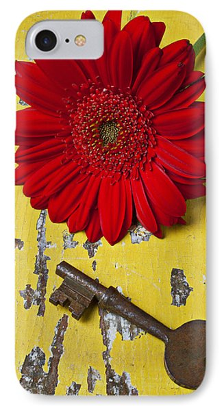 Red Daisy And Old Key IPhone Case by Garry Gay