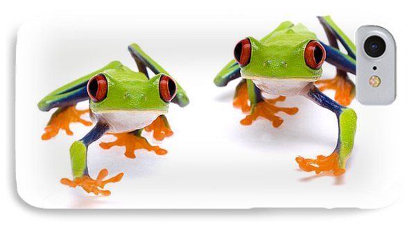 Red-eyed Treefrogs Walking Phone Case by Mark Bowler and Photo Researchers