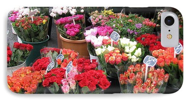 IPhone Case featuring the photograph Red Flowers In French Flower Market by Carla Parris