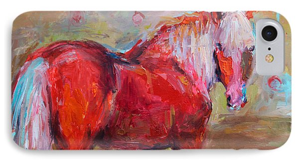Red Horse Contemporary Painting IPhone Case by Svetlana Novikova