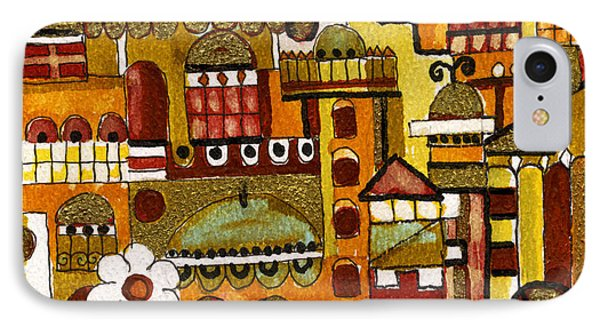Red Kasba Skyline Landscape Art Of Old Town Dome And Minarett Decorated With Flower Arch In Orange IPhone Case by Rachel Hershkovitz