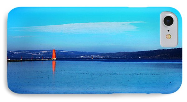 Red Lighthouse In Cayuga Lake New York Phone Case by Paul Ge