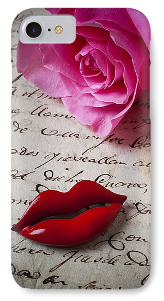 Red Lips On Letter Phone Case by Garry Gay