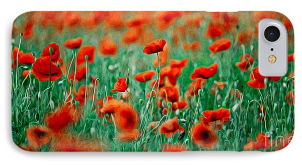 Red Poppy Flowers 04 IPhone Case by Nailia Schwarz