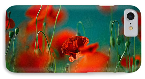 Red Poppy Flowers 05 IPhone Case by Nailia Schwarz