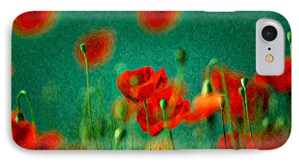 Red Poppy Flowers 07 IPhone Case by Nailia Schwarz