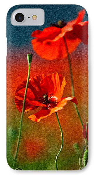 Red Poppy Flowers 08 IPhone Case by Nailia Schwarz