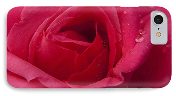 IPhone Case featuring the photograph Red Rose With Rain Tears by Darleen Stry