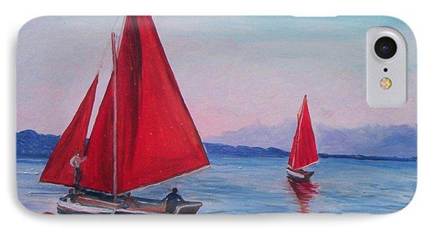 IPhone Case featuring the painting Red Sails On Irish Coast by Julie Brugh Riffey