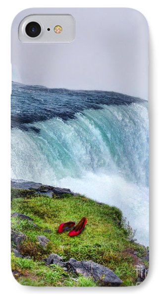 Red Shoes Left By The Falls Phone Case by Jill Battaglia