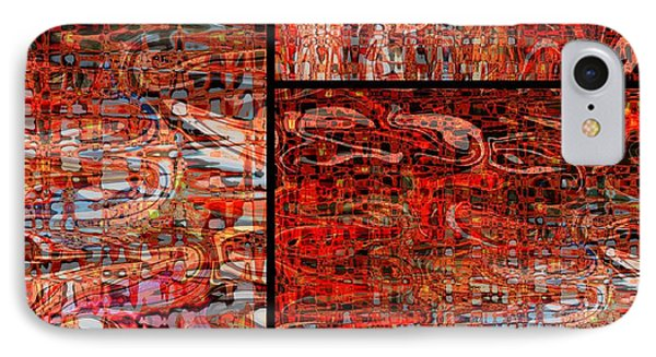 Red Splashes Swishes And Swirls - Abstract Art Phone Case by Carol Groenen