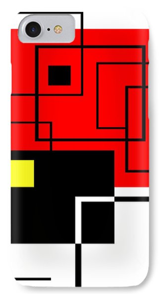 Red Square A La Mondrian IPhone Case by Ginny Schmidt