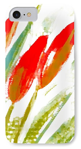 IPhone Case featuring the digital art Red Tulips by Barbara Moignard