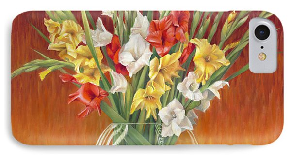 IPhone Case featuring the painting Red White And Yellow Gladiolus by Nancy Tilles