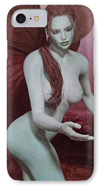 IPhone Case featuring the painting Red Winged Fae by Maynard Ellis