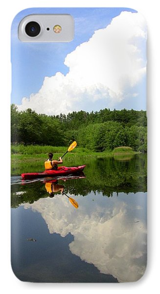IPhone Case featuring the photograph Reflection Of A Kayaker On The Merrimack by Rick Frost
