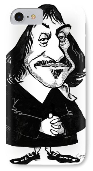 Rene Descartes, Caricature Phone Case by Gary Brown