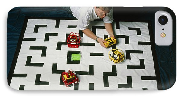 Researcher Testing Lego Robots Playing Pacman Phone Case by Volker Steger