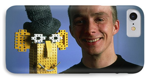 Researcher With His Happy Emotional Lego Robot Phone Case by Volker Steger