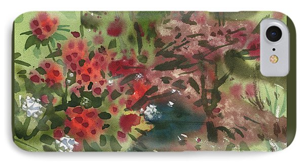 IPhone Case featuring the painting Rhododendron And Red Maple by Donald Maier