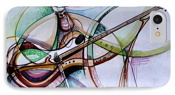 IPhone Case featuring the painting Rhythm Of The Strings by Oyoroko Ken ochuko