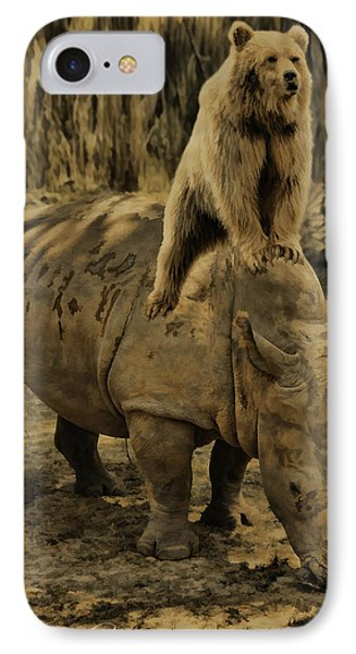 Riding Along- Rhino And Bear IPhone Case by Lourry Legarde