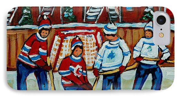 Rink Hockey Montreal Street Scenes Phone Case by Carole Spandau