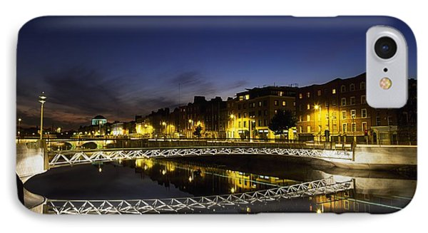 River Liffey, Millenium Footbridge At Phone Case by The Irish Image Collection