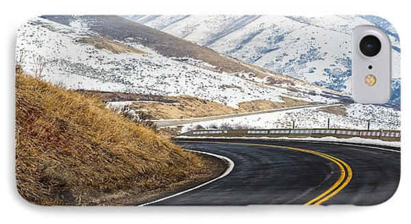 Road Through A Snowy Mountain Landscape Phone Case by Thom Gourley/Flatbread Images, LLC