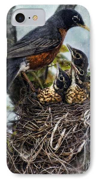 Robin And Babies In Nest Phone Case by Jill Battaglia