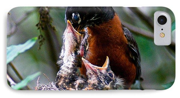 Robin Feeding Young 1 Phone Case by Terry Elniski