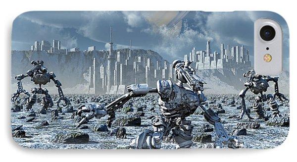 Robots Gathering Rich Mineral Deposits Phone Case by Mark Stevenson
