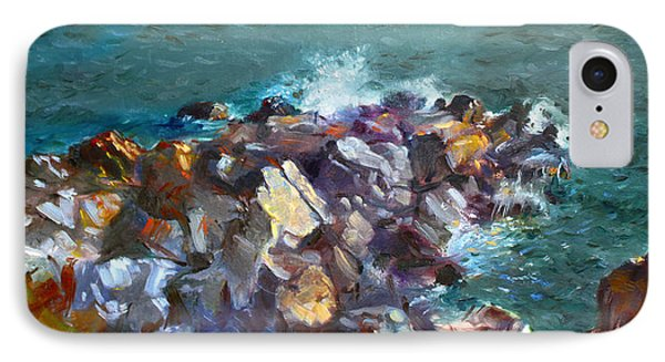 Rocks Against The Ocean  IPhone Case by Ylli Haruni