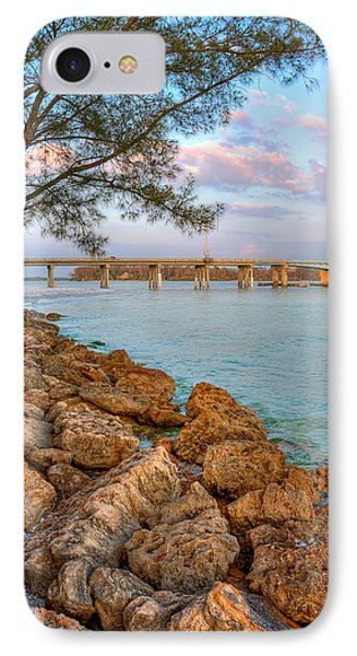 Rocks And Water Longboat Pass Bridge Phone Case by Jenny Ellen Photography