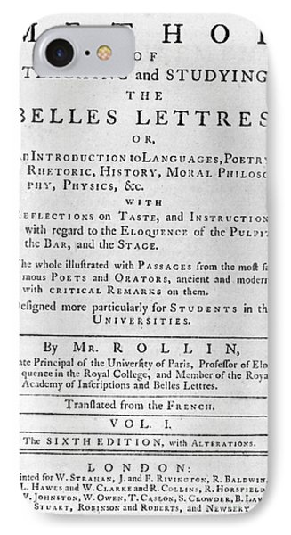 Rollin: Title Page, 1769 Phone Case by Granger