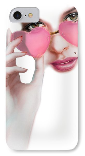 Rose Tinted Love Variant 1 IPhone Case by Andrew Farley