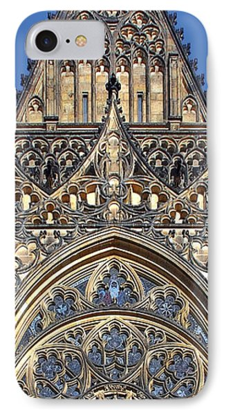 Rose Window - Exterior Of St Vitus Cathedral Prague Castle Phone Case by Christine Till
