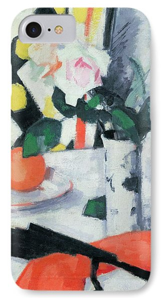 Roses In A Chinese Vase With Black Fan Phone Case by Samuel John Peploe