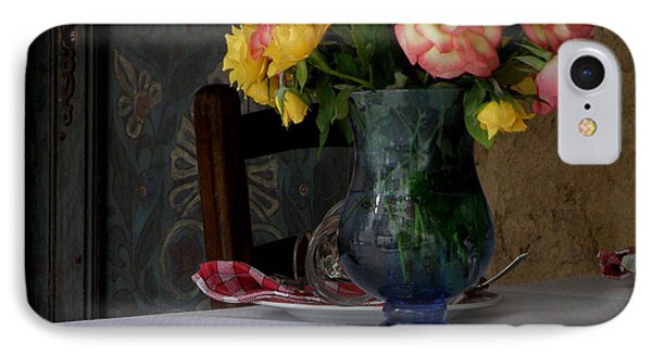 Roses In Blue Glass Vase IPhone Case by Lainie Wrightson