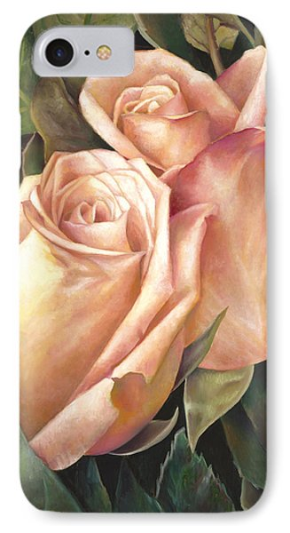 IPhone Case featuring the painting Rosey Embrace by Nancy Tilles