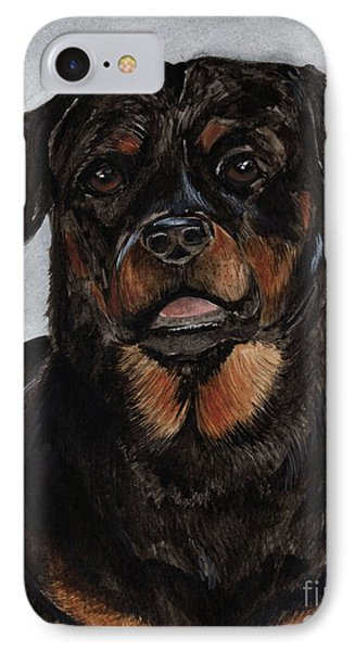 IPhone Case featuring the painting Rottweiler  by Nancy Patterson