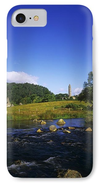 Round Tower And River In The Forest Phone Case by The Irish Image Collection