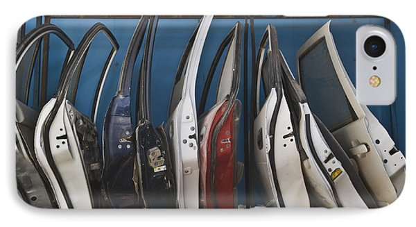 Row Of Dismantled Car Doors Phone Case by Noam Armonn