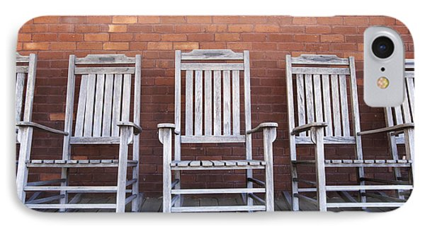 Row Of Rocking Chairs Phone Case by Skip Nall